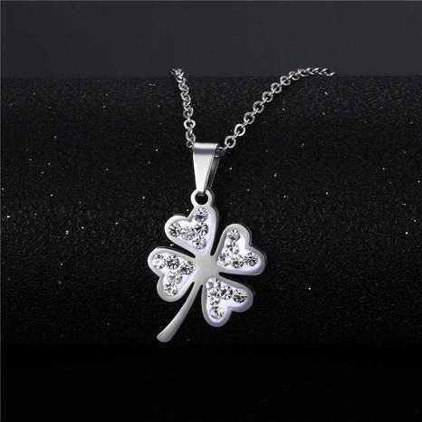 wholesale bijoux simple pendentif trèfle à quatre feuilles collier en acier inoxydable nihaojewelry NHAC383139's discount tags