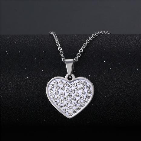 vente en gros bijoux simple en forme de coeur incrusté de diamants pendentif en acier inoxydable collier nihaojewelry NHAC383140's discount tags