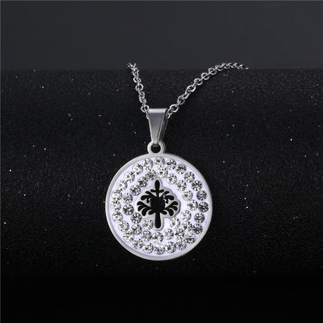 wholesale bijoux simple arbre de vie creux pendentif rond collier en acier inoxydable nihaojewelry NHAC383142's discount tags