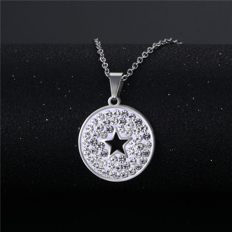 wholesale bijoux simple étoile creuse pendentif rond collier en acier inoxydable nihaojewelry NHAC383143's discount tags
