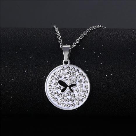 wholesale bijoux simple papillon creux pendentif rond collier en acier inoxydable nihaojewelry NHAC383144's discount tags