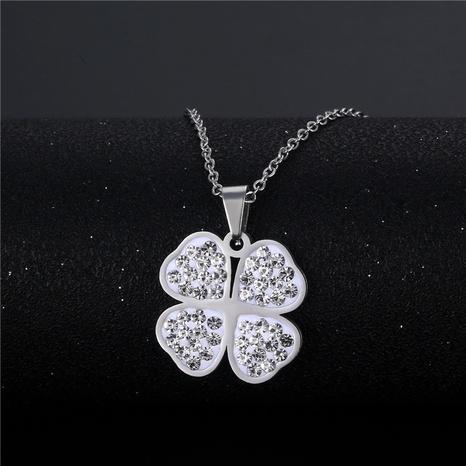 wholesale bijoux simple pendentif trèfle à quatre feuilles collier en acier inoxydable nihaojewelry NHAC383146's discount tags