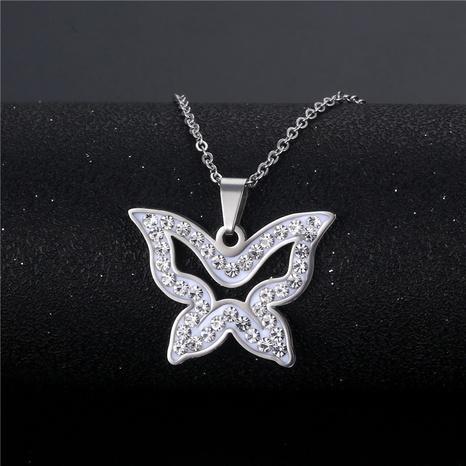 wholesale bijoux mode pendentif papillon creux collier en acier inoxydable nihaojewelry NHAC383147's discount tags