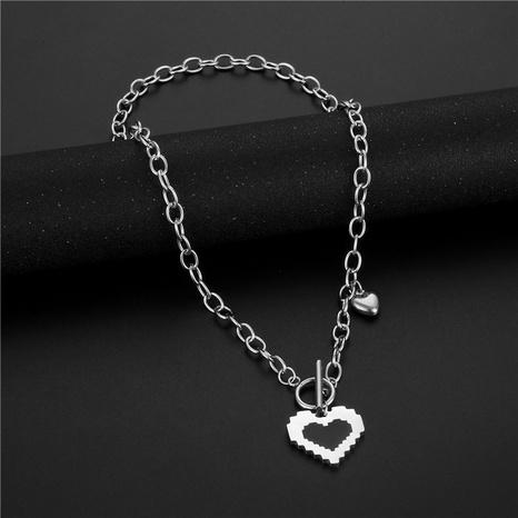 wholesale bijoux de mode noir dégoulinant d'huile pendentif en forme de coeur collier en acier inoxydable nihaojewelry NHAC383150's discount tags