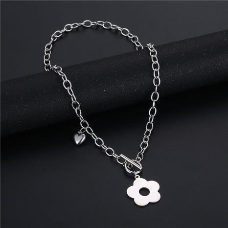 wholesale bijoux mode fleur creuse pendentif OT boucle collier en acier inoxydable nihaojewelry NHAC383151's discount tags