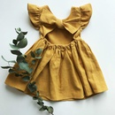 Nihaojewelry wholesale new cotton and linen solid color bow childrens skirts NHWU384552