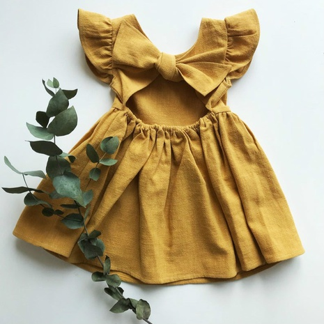 Nihaojewelry wholesale new cotton and linen solid color bow children's skirts NHWU384552's discount tags