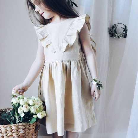 Nihaojewelry wholesale simple flying sleeve solid color cotton and linen children's dress  NHWU384553's discount tags