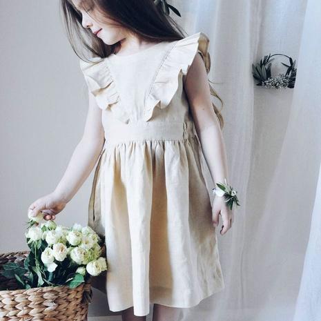 Nihaojewelry al por mayor joyería simple manga voladora color sólido algodón y lino vestido para niños NHWU384553's discount tags