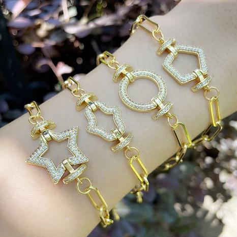 Nihaojewelry bijoux en gros nouveau bracelet de paume étoile géométrique à cinq branches à chaîne épaisse simple NHAS383315's discount tags
