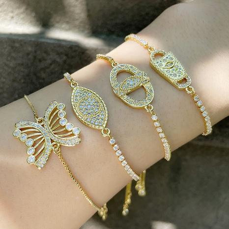 Nihaojewelry bijoux en gros simple chaîne de diamant géométrique papillon bracelet en cuivre NHAS383317's discount tags