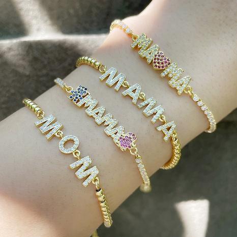 Nihaojewelry bijoux en gros nouvelles lettres de zircon incrustées MAMA couture bracelet à tirer NHAS383316's discount tags
