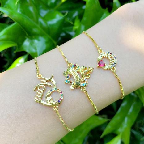 Nihaojewelry bijoux en gros lettre en forme de coeur bracelet de traction réglable en zirconium NHAS383331's discount tags