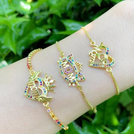Nihaojewelry bijoux en gros lettre diamant couronne coeur cuivre bracelet NHAS383332's discount tags