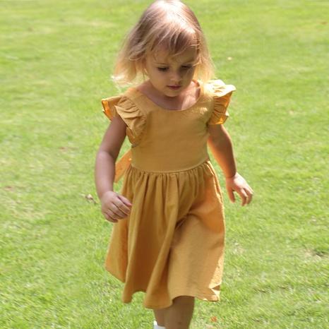 Nihaojewelry wholesale new style cotton linen cross strap buckle children's skirt  NHWU384556's discount tags
