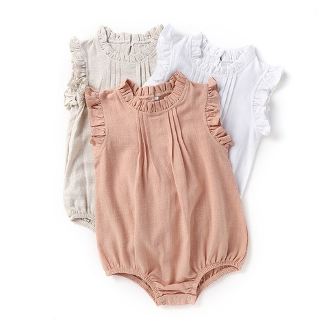 Nihaojewelry wholesale new solid color linen breathable baby romper  NHWU384542's discount tags