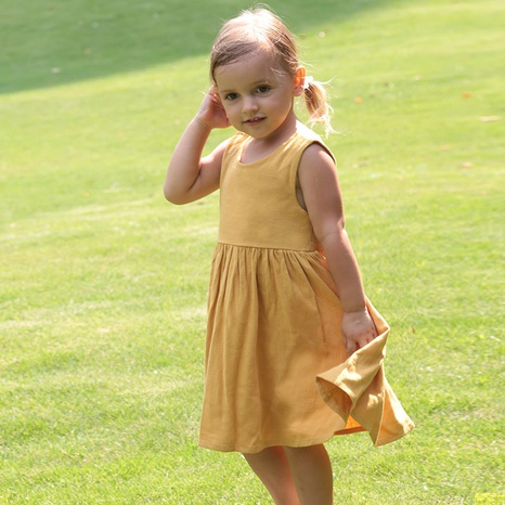 Nihaojewelry wholesale new sleeveless linen solid color children's skirt  NHWU384555's discount tags