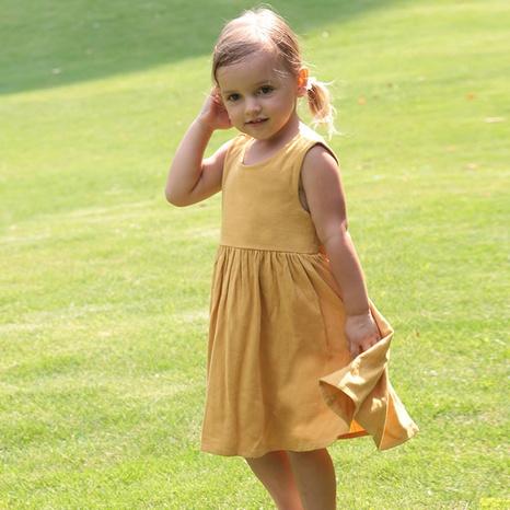 Nihaojewelry al por mayor nueva falda sin mangas de lino de color sólido para niños NHWU384555's discount tags