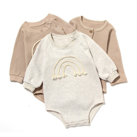 Nihaojewelry wholesale simple rainbow embroidery long-sleeved newborn one-piece clothes  NHWU384541's discount tags