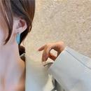 Nihaojewelry wholesale jewelry simple asymmetrical pearl blue circle earrings NHOT384669