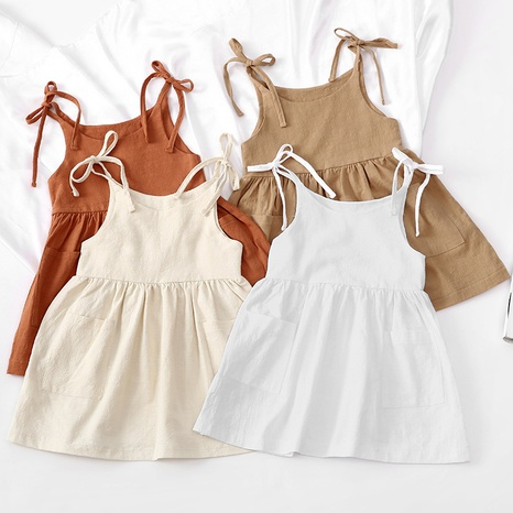 Nihaojewelry wholesale simple solid color cotton linen pocket sling children's dress  NHWU384540's discount tags