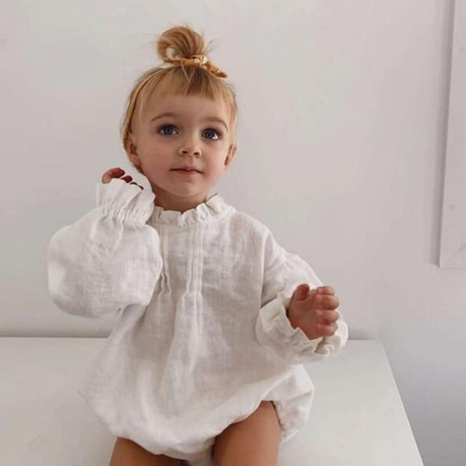 Nihaojewelry wholesale simple solid color long-sleeved linen children's pajamas  NHWU384550's discount tags