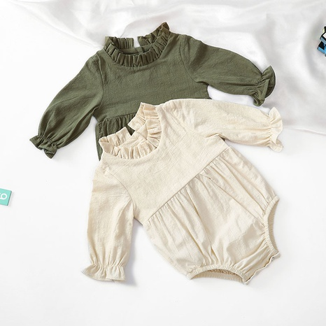 Nihaojewelry wholesale jewelry new long-sleeved cotton and linen solid color flying sleeve baby romper NHWU384537's discount tags