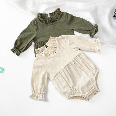 Nihaojewelry joyería al por mayor nuevo algodón de manga larga y lino color sólido manga voladora bebé mameluco NHWU384537's discount tags