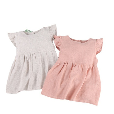 Nihaojewelry wholesale new linen solid color lace pocket short-sleeved dress NHWU384536's discount tags