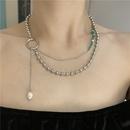 Wholesale Jewelry Green Tourmaline Round Bead Stitching Double Layered Necklace Nihaojewelry NHYQ383441