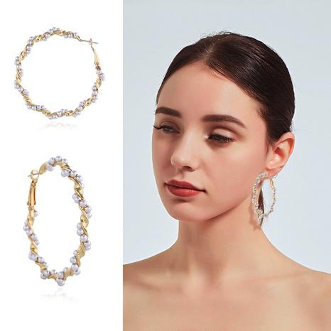 Nihaojewelry joyería al por mayor pendientes de perlas grandes redondos geométricos dorados retro NHKQ383536's discount tags