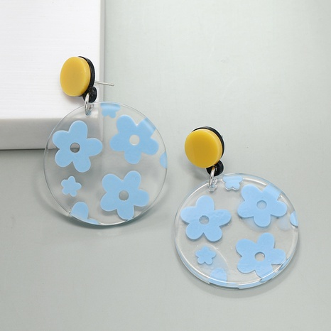 Nihaojewelry Wholesale Jewelry Simple Blue Flowers Transparent Acrylic Earrings  NHKQ383540's discount tags