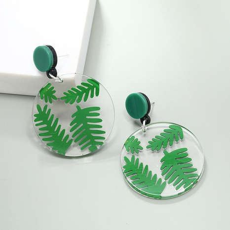 wholesale jewelry simple transparent disc leaf acrylic earrings Nihaojewelry  NHKQ383542's discount tags