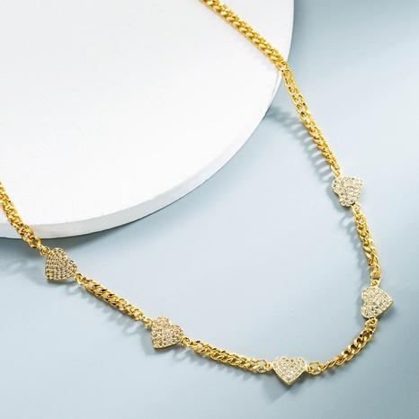 Großhandel Schmuck Kupfer vergoldete Zirkon herzförmige Halskette Nihaojewelry NHYIS383555's discount tags