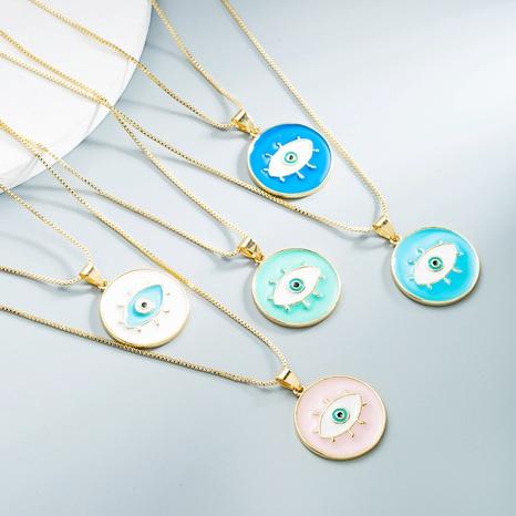 Großhandel Schmuck Kupfer Auge runde Anhänger Halskette Nihaojewelry NHYIS383557's discount tags
