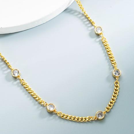 Großhandel Schmuck Kupfer vergoldet Intarsien Zirkon Halskette Nihaojewelry NHYIS383561's discount tags