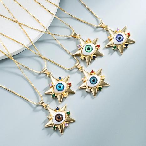 Großhandel Schmuck Dämon Auge Kupferzircon Sternauge Anhänger Halskette Nihaojewelry NHYIS383563's discount tags