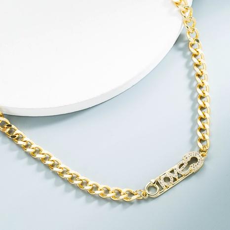 Großhandel Schmuck Kupfer vergoldet eingelegter Zirkon LOVE Brief Pin Halskette Nihaojewelry NHYIS383567's discount tags