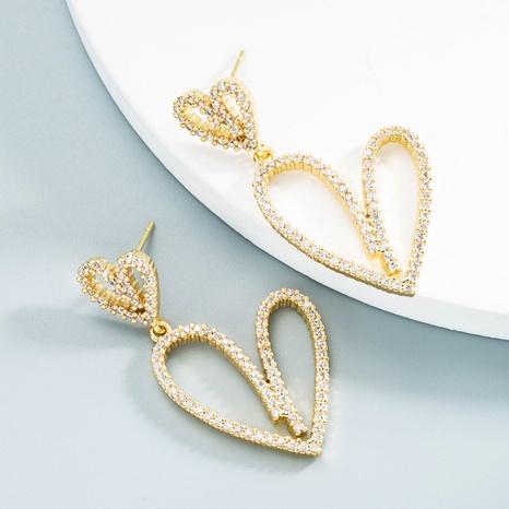 Nihaojewelry Mode hohle doppelte herzförmige Ohrringe Großhandel Schmuck NHYIS383568's discount tags