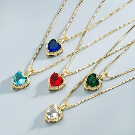 Großhandel Schmuck einfache bunte Kristallherzanhänger Kupferhalskette Nihaojewelry NHYIS383570's discount tags