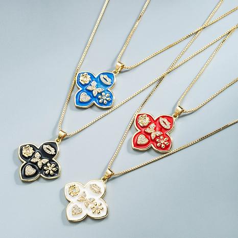 Großhandel Schmuck geometrische Blume Schmetterling Herz Anhänger Kupfer Halskette Nihaojewelry NHYIS383571's discount tags