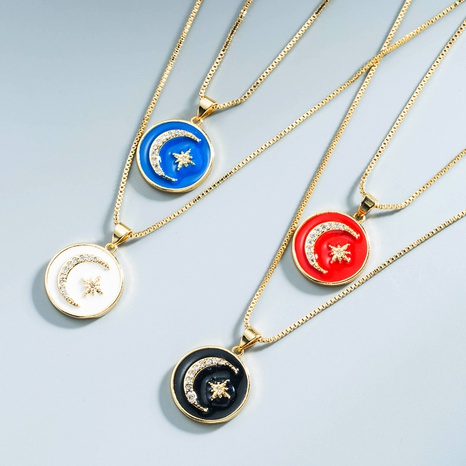 Großhandel Schmuck Kupfer tropfender Ölstern Mond runde Halskette Nihaojewelry NHYIS383572's discount tags