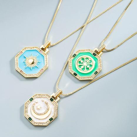 Großhandel Schmuck geometrische Mond Sonne Anhänger Kupfer Halskette Nihaojewelry NHYIS383576's discount tags