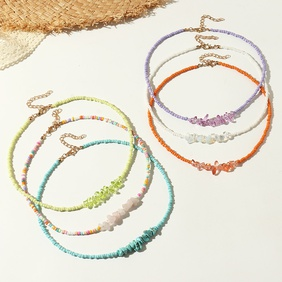wholesale jewelry irregular crystal gravel color rice bead necklace Nihaojewelry NHNZ383588