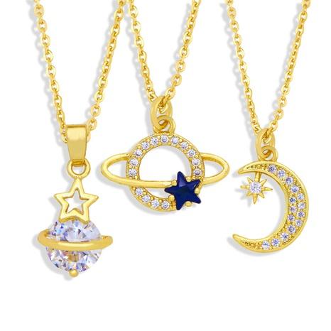Großhandel Schmuck einfacher Planet Stern Mond Anhänger Kupfer eingelegte Zirkon Halskette nihaojewelry NHAS383632's discount tags