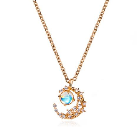Nihaojewelry einfache Metall Mondstein Anhänger Halskette Großhandel Schmuck NHDP383671's discount tags