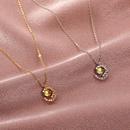 Nihaojewelry simple metal moonstone pendant necklace wholesale jewelry NHDP383671