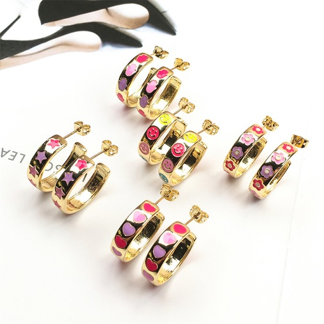 Nihaojewelry Mode tropft Öl Smiley geometrische Ohrringe Großhandel Schmuck NHPY383677's discount tags