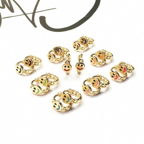 Nihaojewelry Mode vergoldet lächelndes Gesicht tropfende Ölohrringe Großhandel Schmuck NHPY383683's discount tags