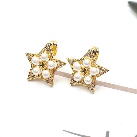 Nihaojewelry einfache Art Stern Muschel Perle Zirkon Ohrringe Großhandel Schmuck NHPY383684's discount tags